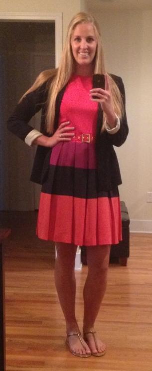 Red Dress Navy Blazer