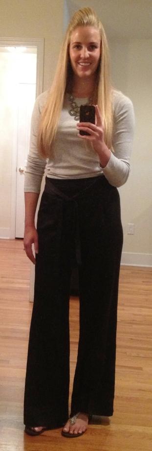 Grey Long Sleeved Tee Black Pants