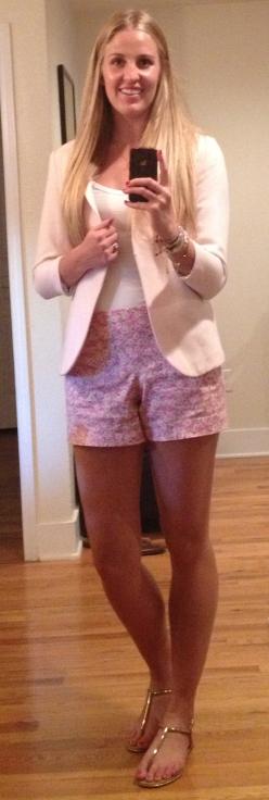 Pink Blazer Floral Shorts