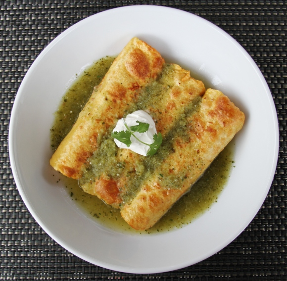 Flautas with Tomatillo Broth