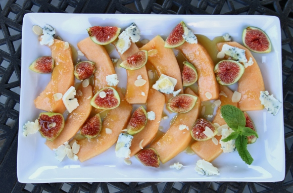 Fig Cataloupe Blue Cheese Almond Salad