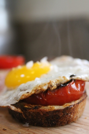 Fried Egg Charred Tomato Rustic Bread