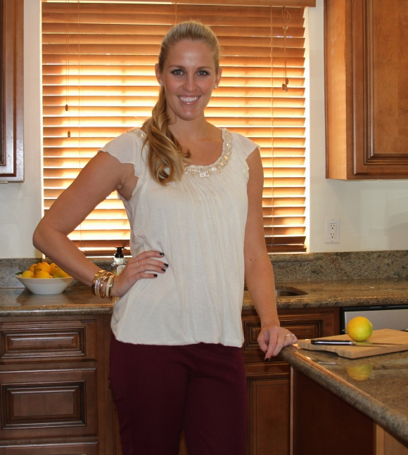 Joie Sparkle Top Maroon Pants