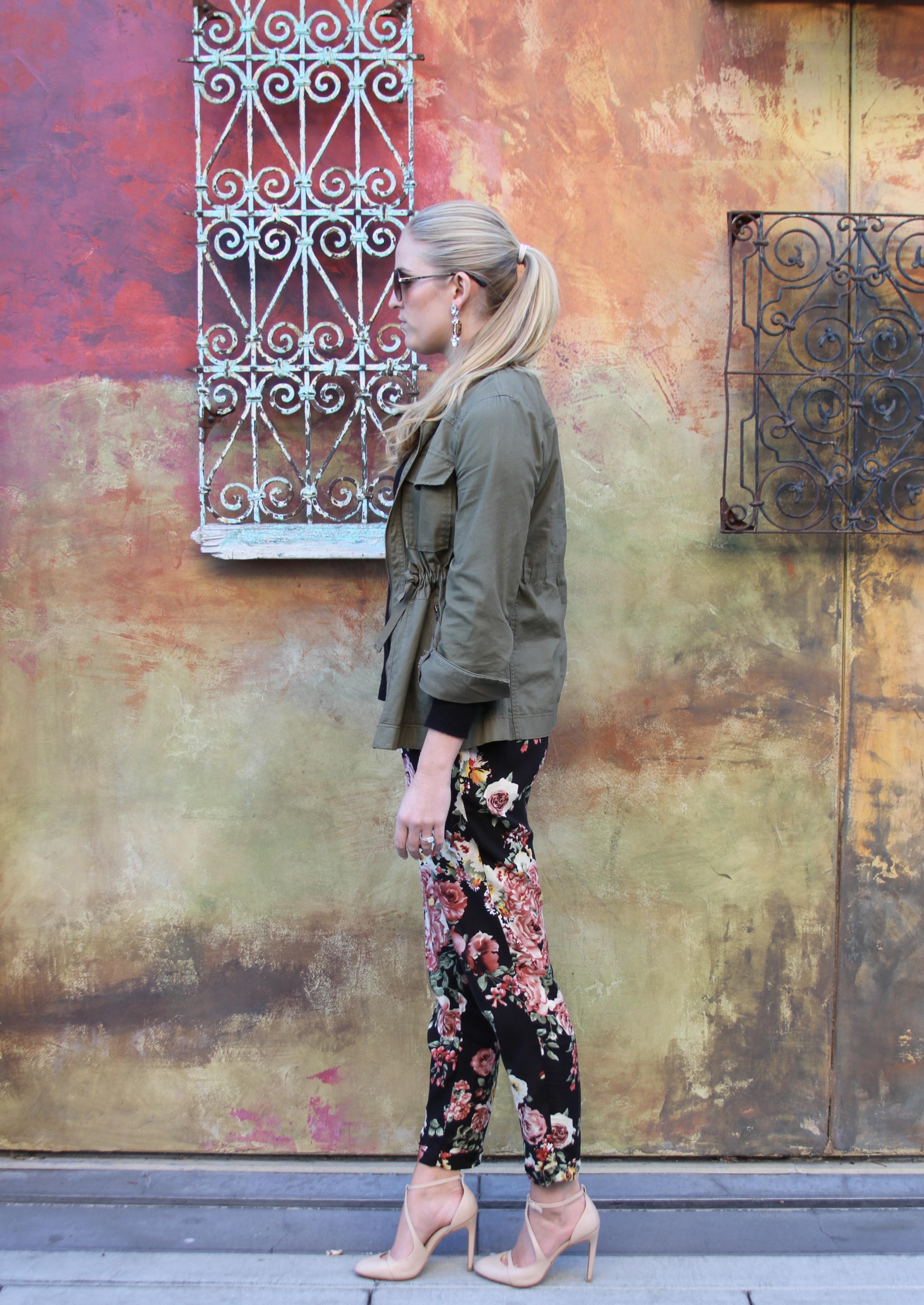 Military Jacket Floral Pants