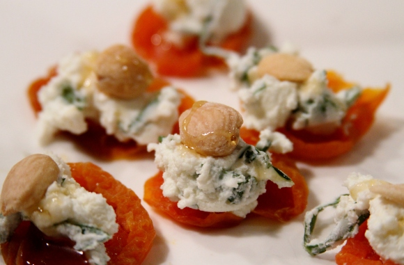 Apricot with Basil Goat Cheese