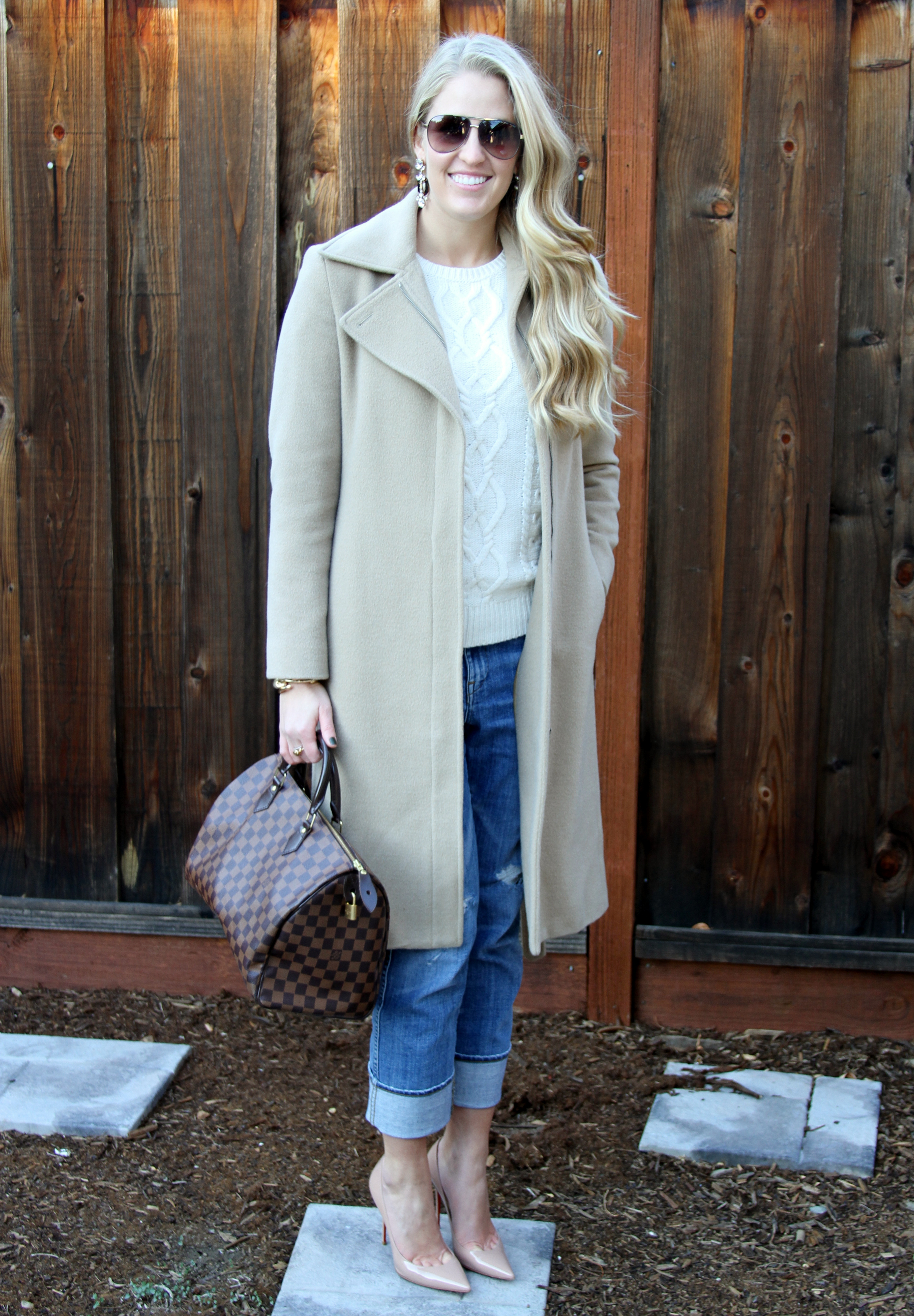 Camel Coat J Crew Ripped Jeans