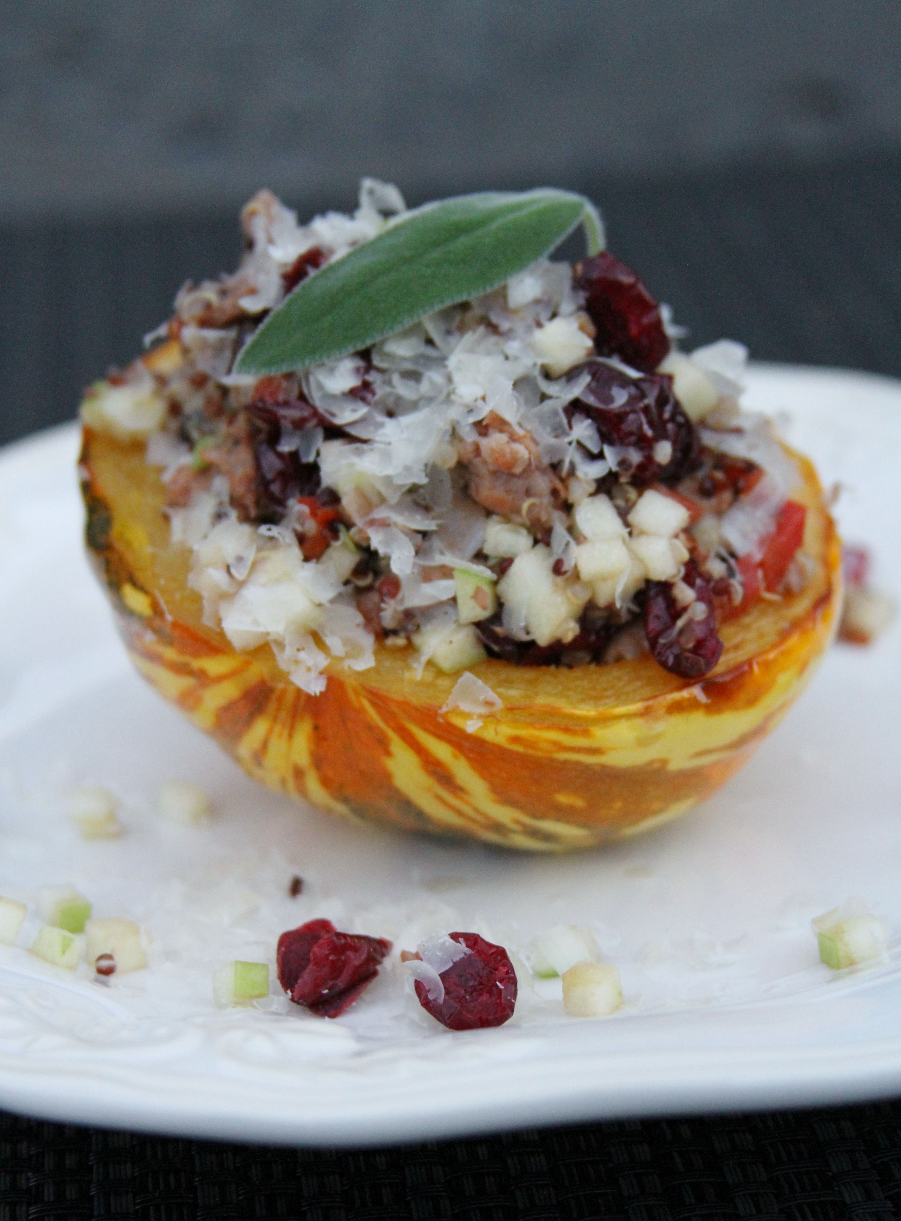 Cranberry Apple Quinoa filled Acorn Squash