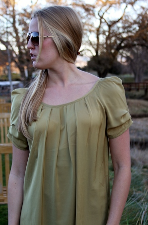 Olive Green Cap Sleeve Dress